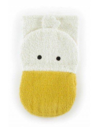 Manopla de algodón orgánico pato grande